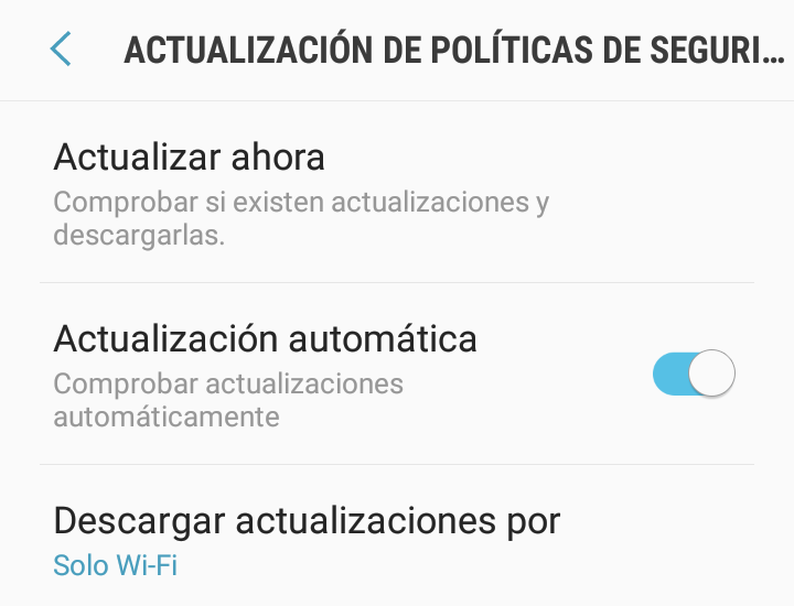 Actualizar Android en samsung